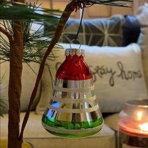 "3"" bell shaped glass Christmas tree ornament Vtg"